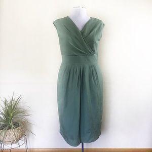 Lafayette 148 NY Sage Green Linen Midi Dress